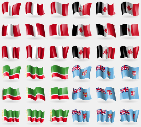 republic of peru: Peru, Udmurtia, Chechen Republic, Fiji. Set of 36 flags of the countries of the world. Vector illustration Illustration