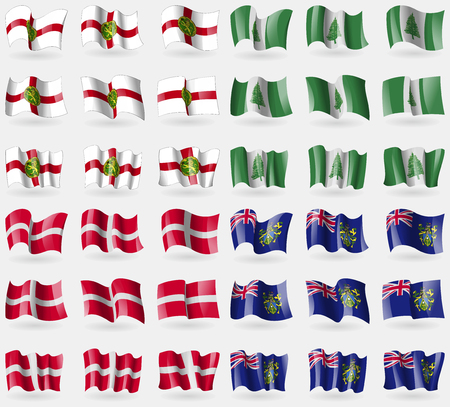 pitcairn: Alderney, Norfolk Island, Military Order Malta, Pitcairn Islands. Set of 36 flags of the countries of the world. Vector illustration