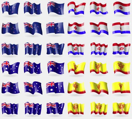 new zeland: New Zeland, Mordovia, Australia, Chuvashia. Set of 36 flags of the countries of the world. Vector illustration