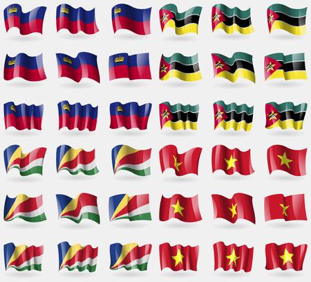 seychelles: Liechtenstein, Mozambique, Seychelles, Vietnam. Set of 36 flags of the countries of the world. Vector illustration