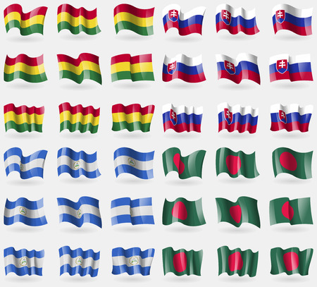 36: Bolivia, Slovakia, Nicaragua, Bangladesh. Set of 36 flags of the countries of the world. Vector illustration Illustration