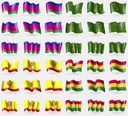 kuban: Kuban, Adygea, Chuvashia, Bolivia. Set of 36 flags of the countries of the world. Vector illustration Illustration