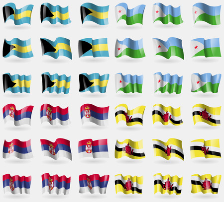 36: Bahamas, Djibouti, Serbia, Brunei. Set of 36 flags of the countries of the world. Vector illustration