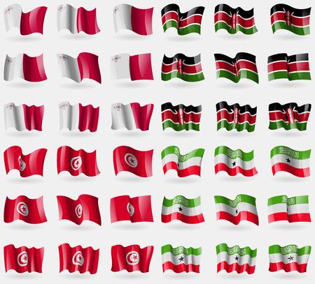 somaliland: Malta,  Kenya, Tunisia, Somaliland. Set of 36 flags of the countries of the world. Vector illustration