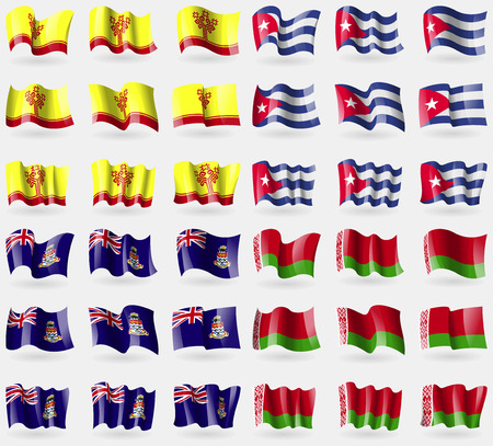 cayman islands: Chuvashia, Cuba, Cayman Islands, Belarus. Set of 36 flags of the countries of the world. Vector illustration Illustration