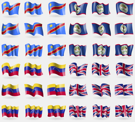 democratic republic of the congo: Congo Democratic Republic, Belize, Venezuela, United Kingdom. Set of 36 flags of the countries of the world. Vector illustration