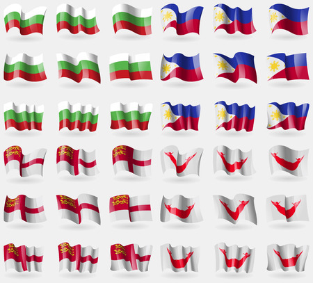 Bulgaria, Philippines, Sark, Easter Rapa Nui. Set of 36 flags of the countries of the world. Vector illustration Illustration