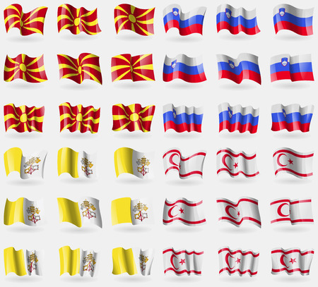 Macedonia, Slovenia, Vatican CityHoly See, Turkish Northern Cyprus. Set of 36 flags of the countries of the world. Vector illustration Illustration