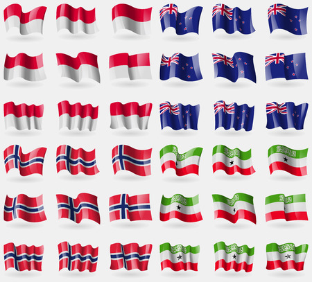 new zeland: Monaco, New Zeland, Norway, Somaliland. Set of 36 flags of the countries of the world. Vector illustration