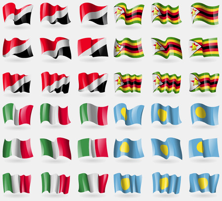 sealand: Sealand Principality, Zimbabwe, Italy, Palau. Set of 36 flags of the countries of the world. Vector illustration