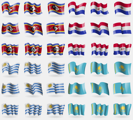 Swaziland, Paraguay, Uruguay, Kazakhstan. Set of 36 flags of the countries of the world. Vector illustration