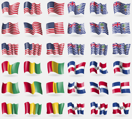 indian ocean: USA, British Indian Ocean Territory, Guinea, Dominican Republic. Set of 36 flags of the countries of the world. Vector illustration