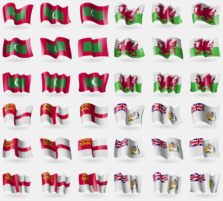 antarctic: Maldives, Wales, Sark, British Antarctic Territory. Set of 36 flags of the countries of the world. Vector illustration