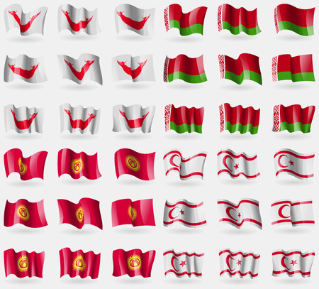 Easter Rapa Nui, Belarus, Kyrgyzstan, Turkish Northern Cyprus. Set of 36 flags of the countries of the world. Vector illustration