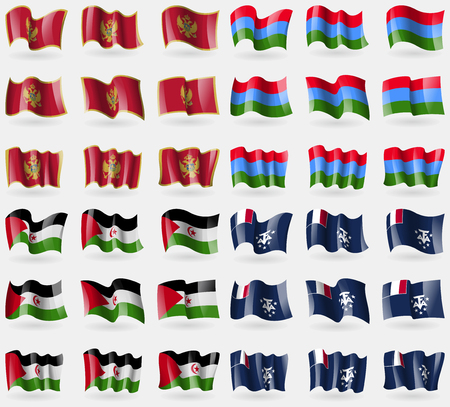 antarctic: Montenegro, Karelia, Western Sahara, French and Antarctic. Set of 36 flags of the countries of the world. Vector illustration