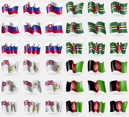 antarctic: Slovakia, Dominica, British Antarctic Territory, Afghanistan. Set of 36 flags of the countries of the world. Vector illustration Illustration
