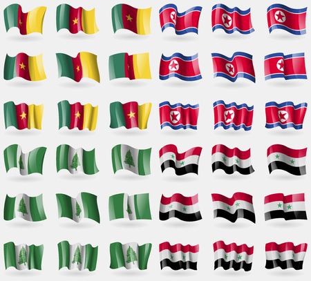 36: Cameroon, Korea North, Norfolk Island, Syria. Set of 36 flags of the countries of the world. Vector illustration
