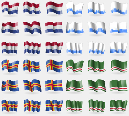 altai: Netherlands, Altai Republic, Aland, Chechen Republic of Ichkeria. Set of 36 flags of the countries of the world. Vector illustration