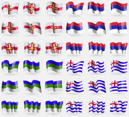 republika: Guernsey, Republika Srpska, Komi, Ajaria. Set of 36 flags of the countries of the world. Vector illustration