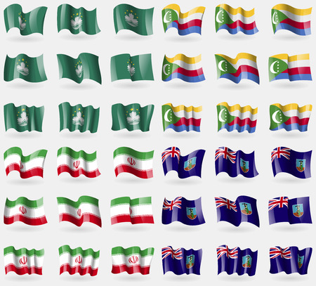comoros: Macau, Comoros, Iran, Montserrat. Set of 36 flags of the countries of the world. Vector illustration Vectores