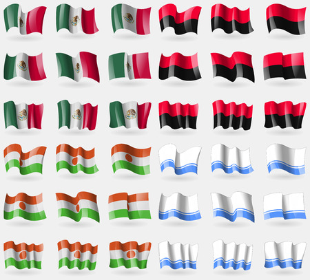 altai: Mexico, UPA, Niger, Altai Republic. Set of 36 flags of the countries of the world. Vector illustration Illustration