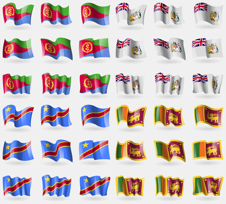 antarctic: Eritea, British Antarctic Territory, Congo Democratic Republic, Sri Lanka. Set of 36 flags of the countries of the world. Vector illustration