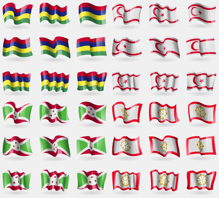 Mauritius, Turkish Northern Cyprus, Burundi, Sikkim. Set of 36 flags of the countries of the world. Vector illustration