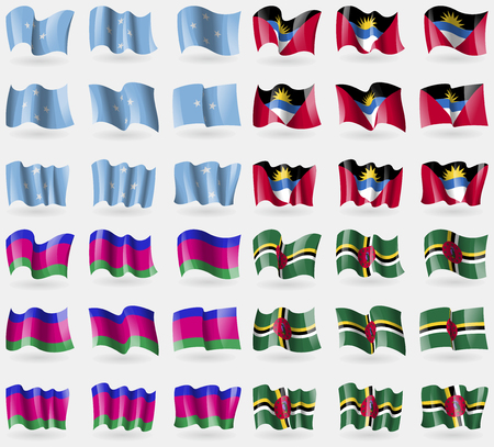 barbuda: Micronesia, Antigua and Barbuda, Kuban Republic, Dominica. Set of 36 flags of the countries of the world. Vector illustration