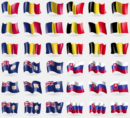 anguilla: Chad, Belgium, Anguilla, Slovakia. Set of 36 flags of the countries of the world. Vector illustration