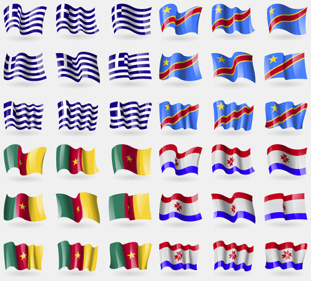 36: Greece, Congo Democratic Republic, Cameroon, Mordovia. Set of 36 flags of the countries of the world. Vector illustration Illustration