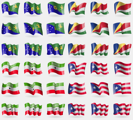somaliland: Christmas Island, Seychelles, Somaliland, Puerto Rico. Set of 36 flags of the countries of the world. Vector illustration