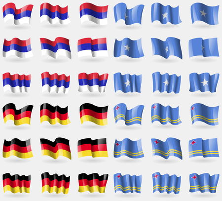 republika: Republika Srpska, Somalia, Germany, Aruba. Set of 36 flags of the countries of the world. Vector illustration