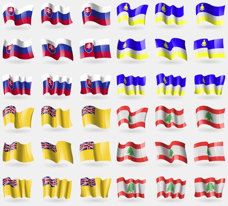 buryatia: Slovakia, Buryatia, Niue, Lebanon. Set of 36 flags of the countries of the world. Vector illustration Illustration