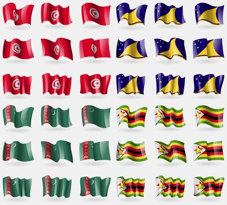 tokelau: Tunusia, Tokelau, Turkmenistan, Zimbabwe. Set of 36 flags of the countries of the world. Vector illustration