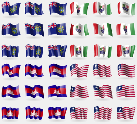 pitcairn: Pitcairn Islands, Bosnia and Hezegovina Federation, Cambodia, Liberia. Set of 36 flags of the countries of the world. Vector illustration