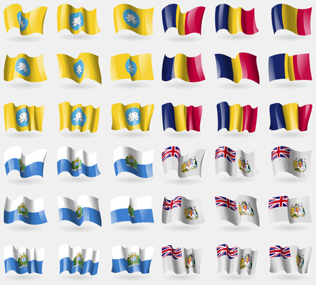 antarctic: Kalmykia, Chad, San Marino, British Antarctic Territory. Set of 36 flags of the countries of the world. Vector illustration