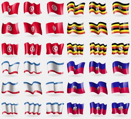 crimea: Tunisia, Uganda, Crimea, Haiti. Set of 36 flags of the countries of the world. Vector illustration