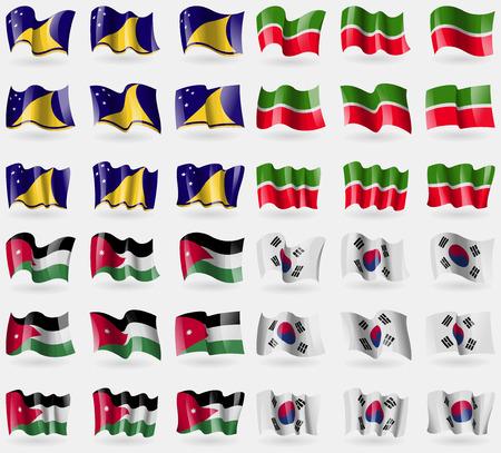 tokelau: Tokelau, Tatarstan, Jordan, Korea South. Set of 36 flags of the countries of the world. Vector illustration Illustration