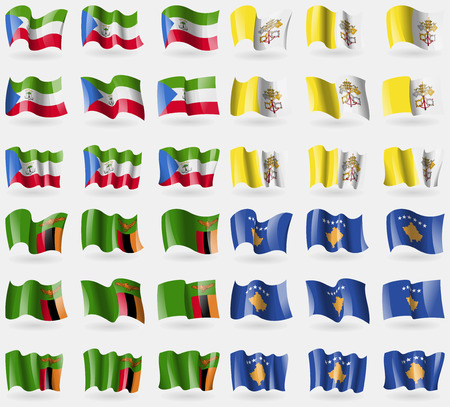 equatorial guinea: Equatorial Guinea, Vatican CityHoly See, Zambia, Kosovo. Set of 36 flags of the countries of the world. Vector illustration