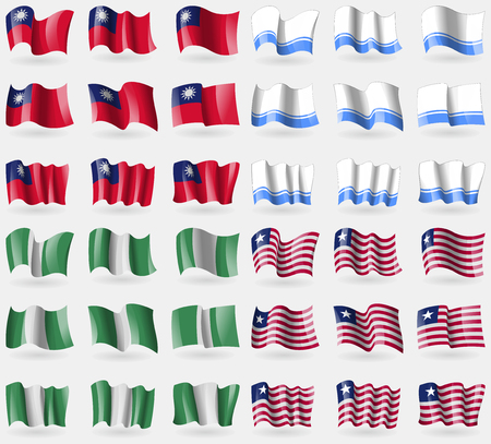 altai: Taiwan, Altai Republic, Nigeria, Liberia. Set of 36 flags of the countries of the world. Vector illustration