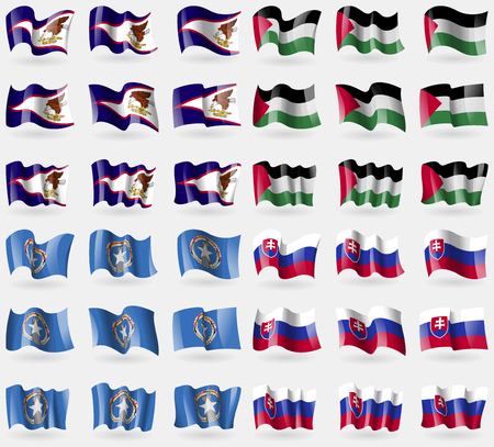 American Samoa, Palestine, Marianna Islands, Slovakia. Set of 36 flags of the countries of the world. Vector illustration Illustration
