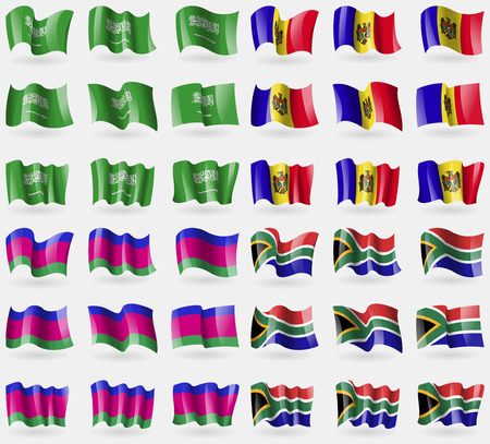 kuban: Saudi Arabia, Moldova, Kuban Republic, South Africa. Set of 36 flags of the countries of the world. Vector illustration Illustration