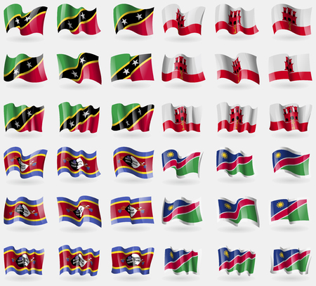 gibraltar: Saint Kitts and Nevis, Gibraltar, Swaziland, Namibia. Set of 36 flags of the countries of the world. Vector illustration