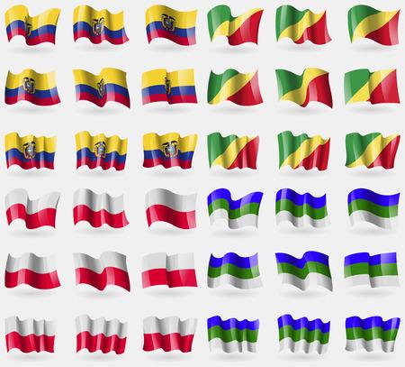 republic of ecuador: Ecuador, Congo Republic, Poland, Komi. Set of 36 flags of the countries of the world. Vector illustration