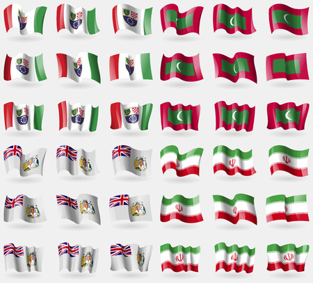 british culture: Bosnia and Herzegovina Federation, Maldives, British Antarctic Territory, Iran. Set of 36 flags of the countries of the world. Vector illustration