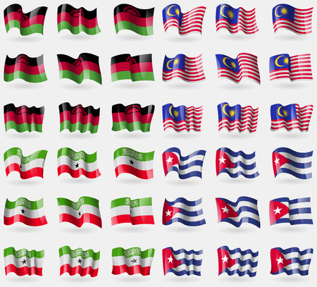 malaysia culture: Malawi, Malaysia, Somaliland, Cuba. Set of 36 flags of the countries of the world. Vector illustration
