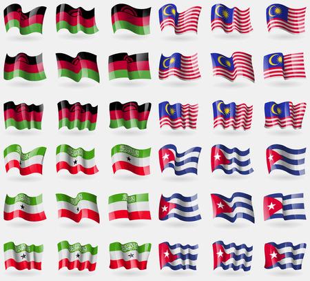 somaliland: Malawi, Malaysia, Somaliland, Cuba. Set of 36 flags of the countries of the world. Vector illustration