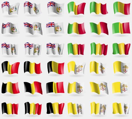 36: British Antarrctic Territory, Mali, Belgium, Vatican CityHoly See. Set of 36 flags of the countries of the world. Vector illustration