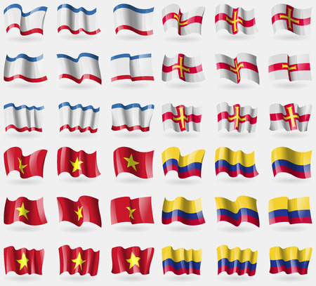 crimea: Crimea, Guernsey, Vietnam, Colombia. Set of 36 flags of the countries of the world. Vector illustration