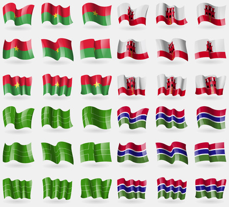 36: Burkia Faso, Gibraltar, Ladonia, Gambia. Set of 36 flags of the countries of the world. Vector illustration